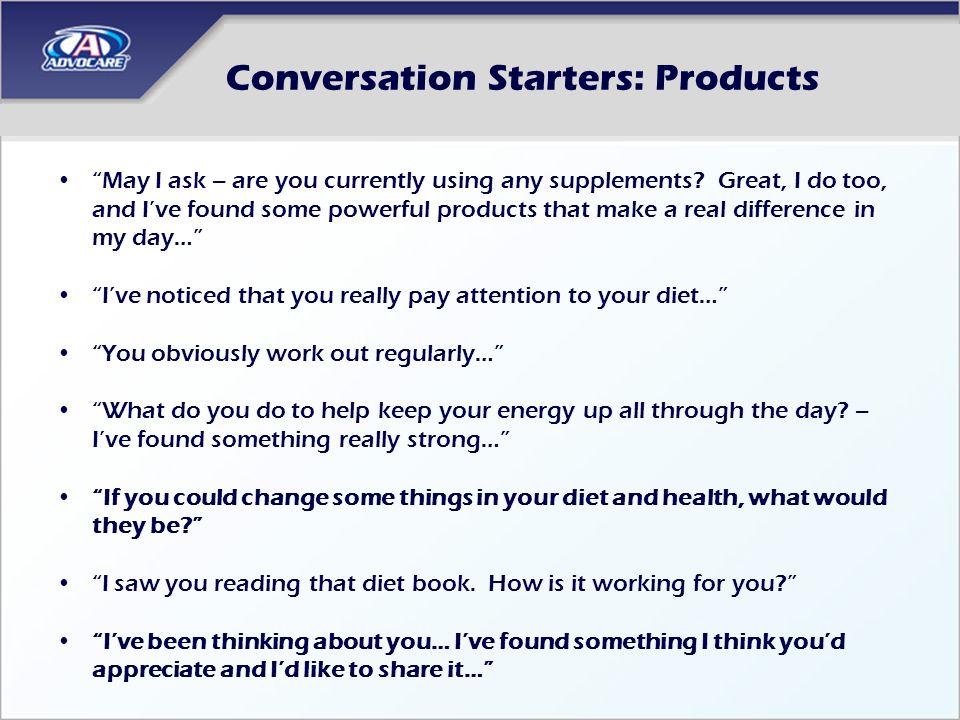 Conversation Starters: Products
