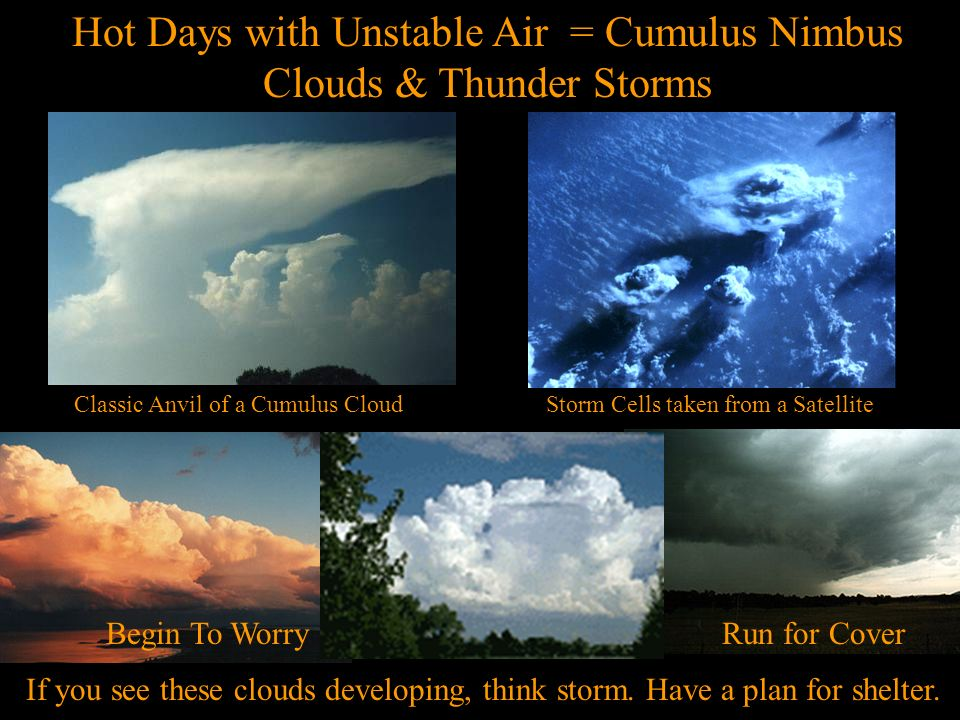 Hot Days with Unstable Air = Cumulus Nimbus Clouds & Thunder Storms