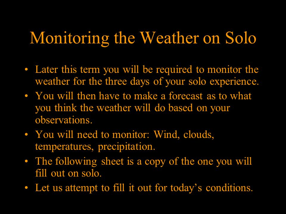Monitoring the Weather on Solo
