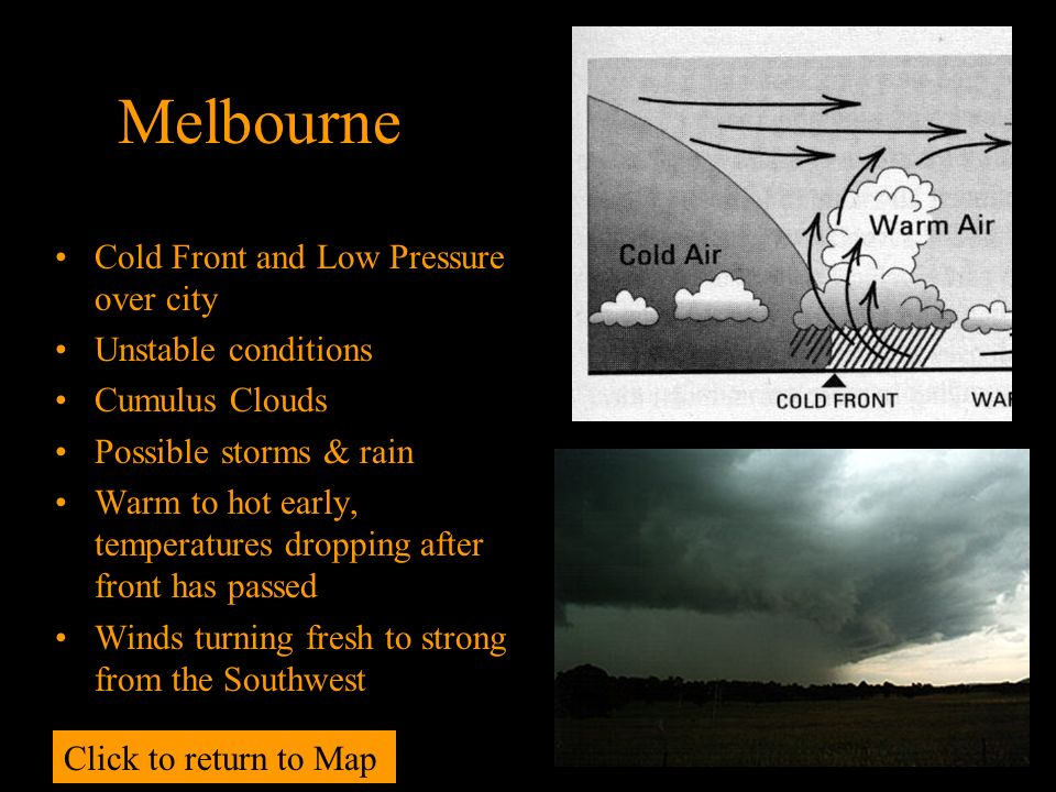 Melbourne Cold Front and Low Pressure over city Unstable conditions