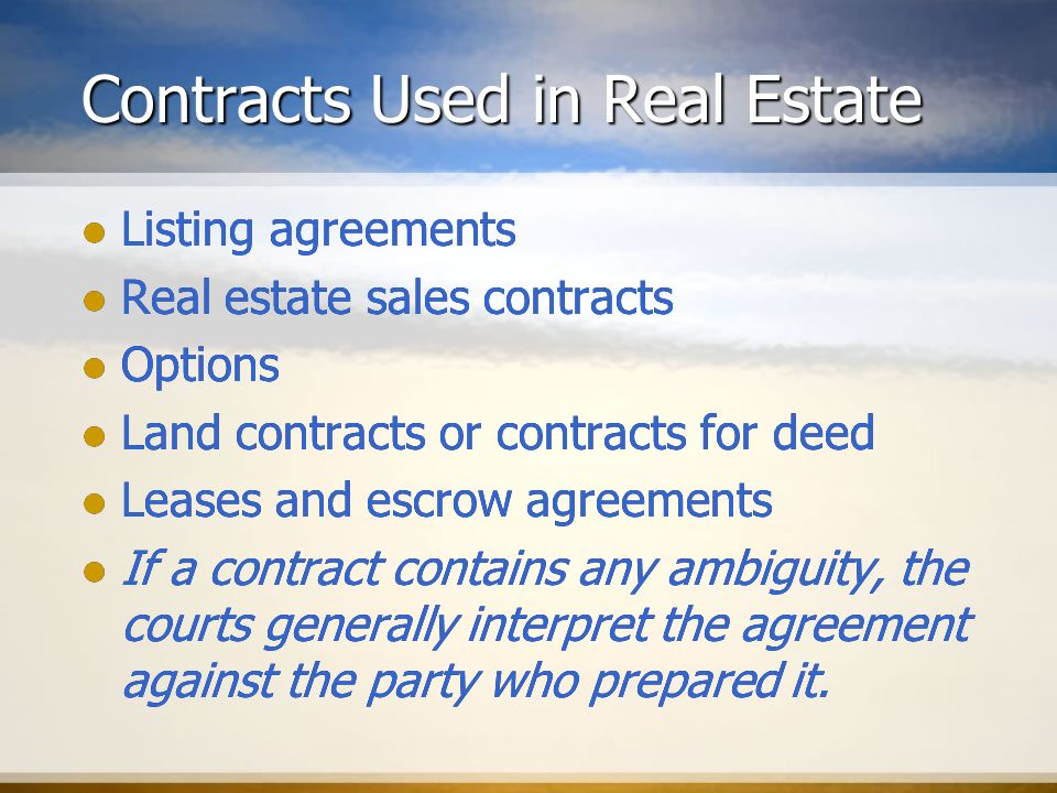 Real Estate Contracts. - Ppt Download