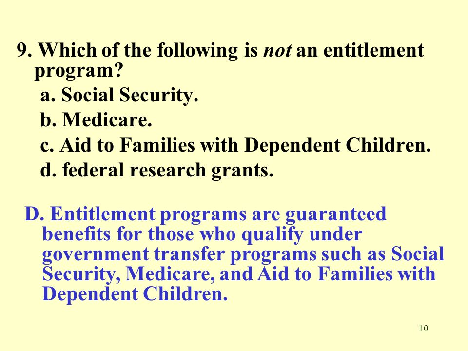 9. Which of the following is not an entitlement program