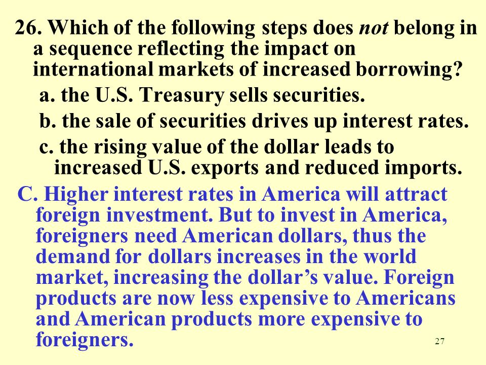 26. Which of the following steps does not belong in a sequence reflecting the impact on international markets of increased borrowing