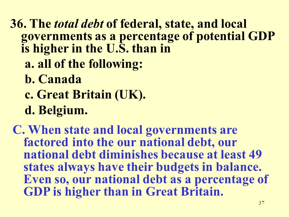 36. The total debt of federal, state, and local governments as a percentage of potential GDP is higher in the U.S. than in