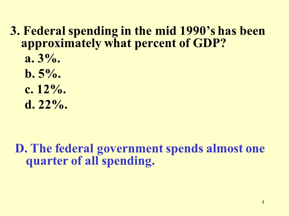 3. Federal spending in the mid 1990's has been approximately what percent of GDP
