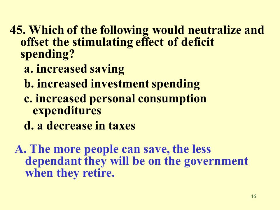 45. Which of the following would neutralize and offset the stimulating effect of deficit spending