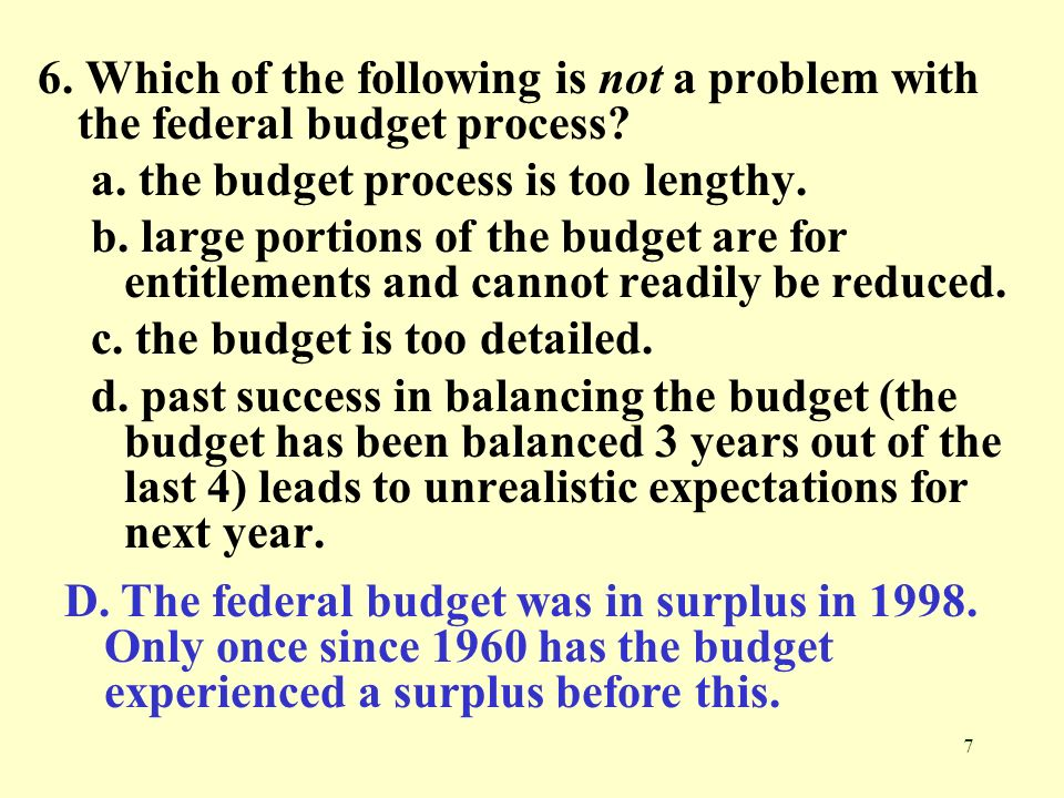 6. Which of the following is not a problem with the federal budget process