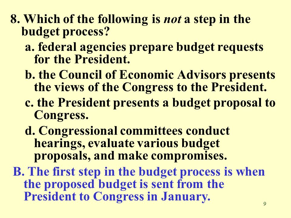 8. Which of the following is not a step in the budget process