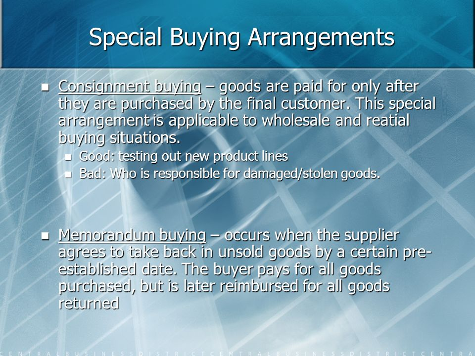 Special Buying Arrangements