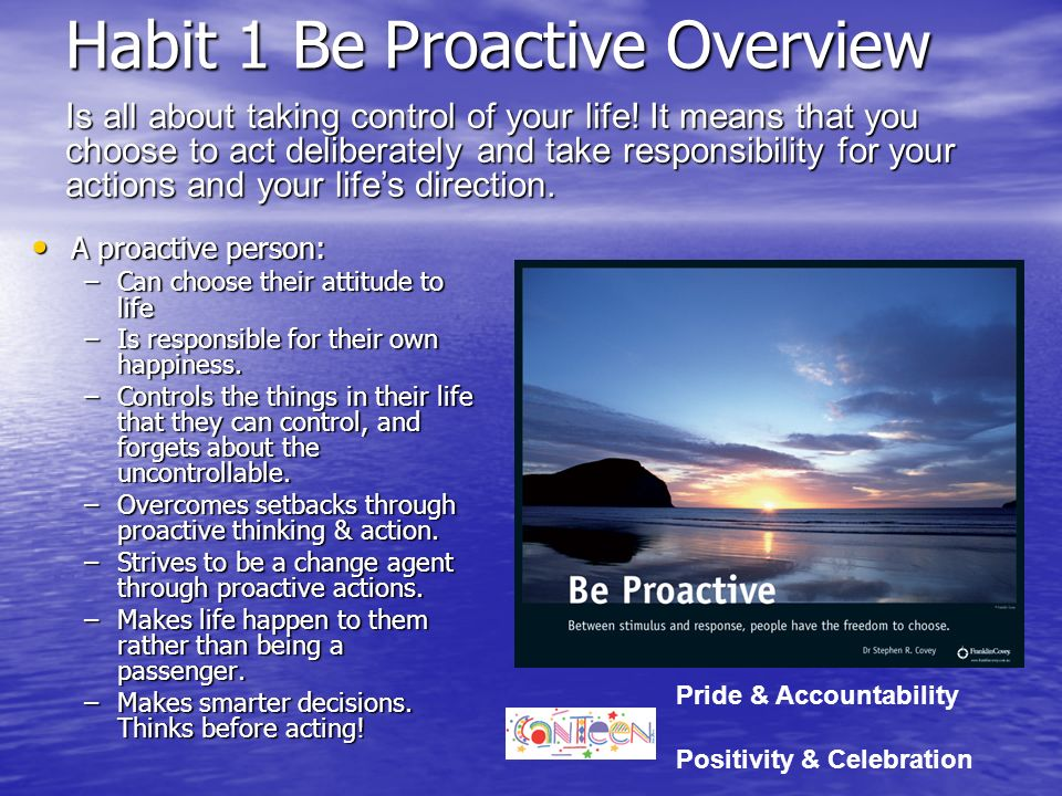 Habit 1 Be Proactive Overview