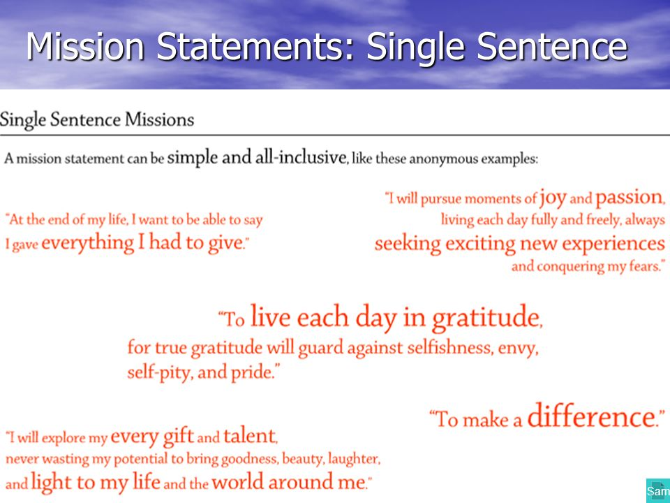 Mission Statements: Single Sentence