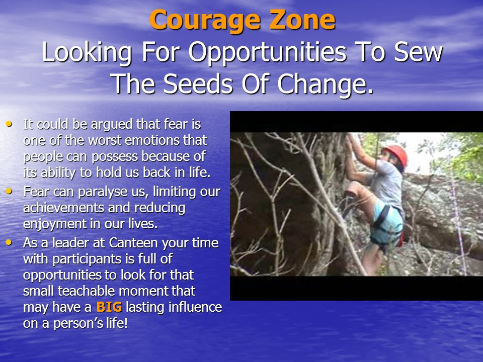 Courage Zone Looking For Opportunities To Sew The Seeds Of Change.