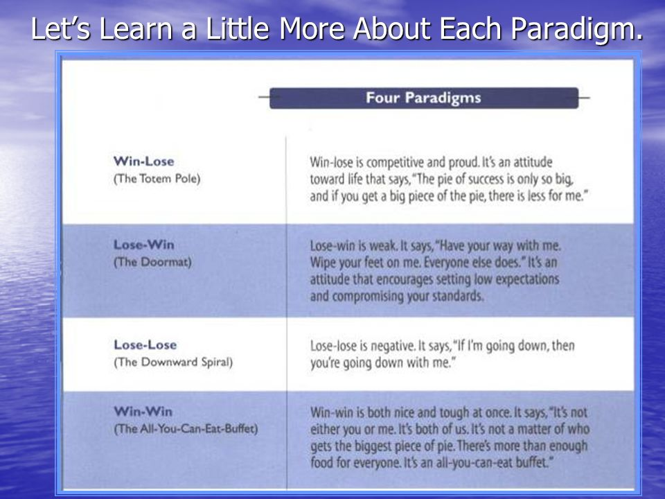 Let's Learn a Little More About Each Paradigm.