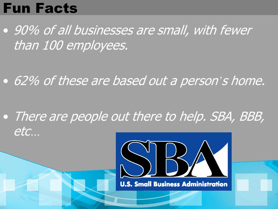Fun Facts 90% of all businesses are small, with fewer than 100 employees. 62% of these are based out a person's home.