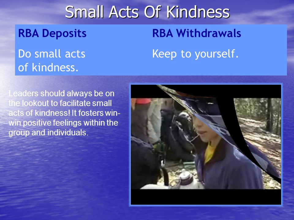 Small Acts Of Kindness RBA Deposits RBA Withdrawals
