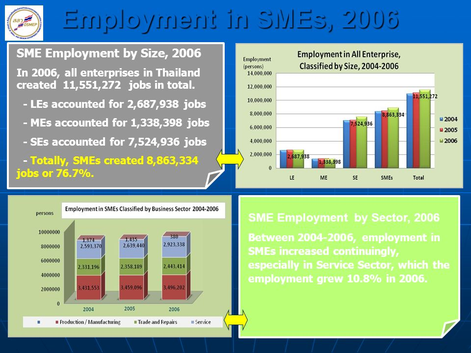 Employment in SMEs, 2006 SME Employment by Size, 2006