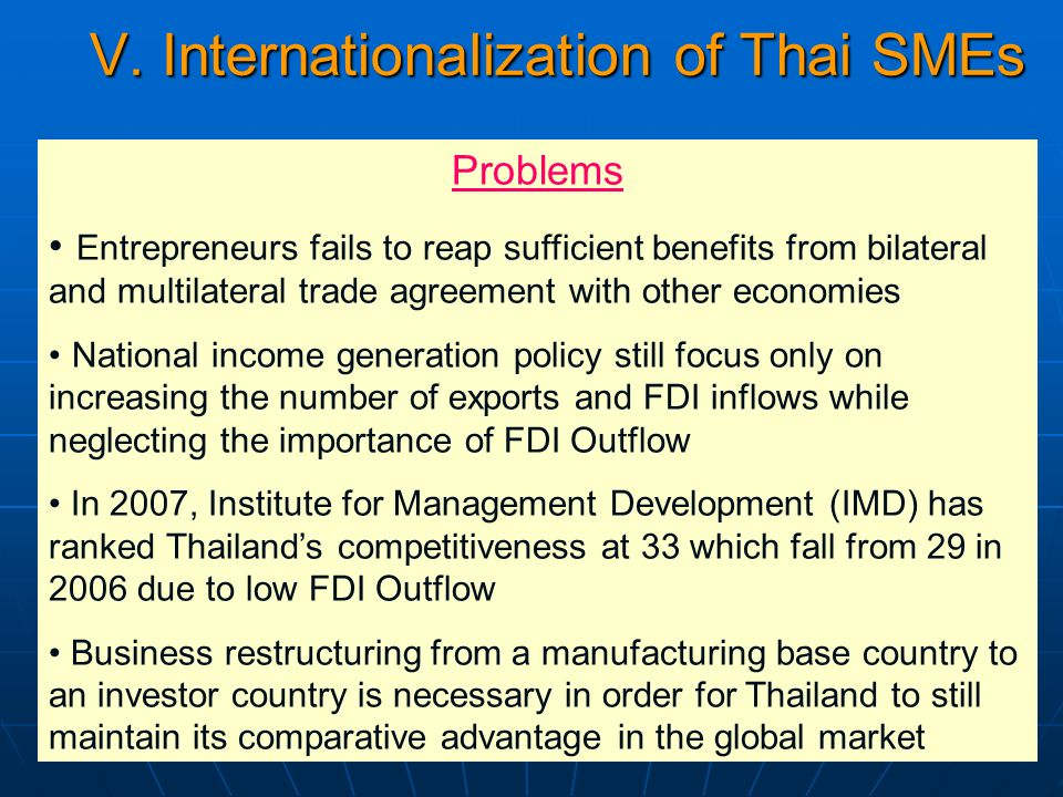 V. Internationalization of Thai SMEs