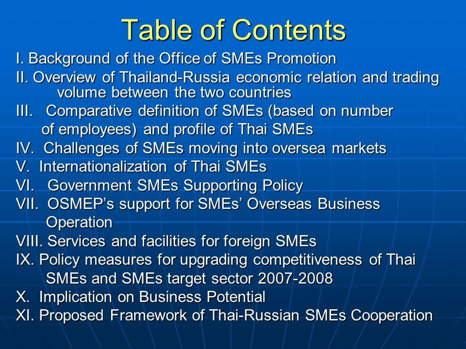 Table of Contents I. Background of the Office of SMEs Promotion