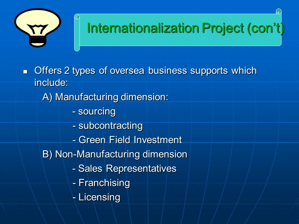 Internationalization Project (con't)