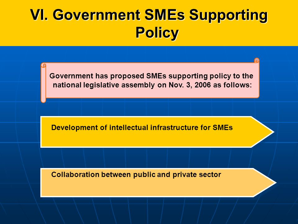 VI. Government SMEs Supporting Policy