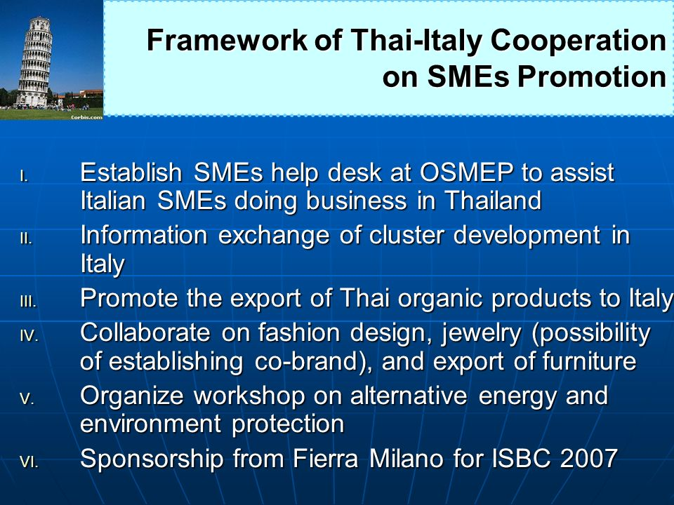 Framework of Thai-Italy Cooperation on SMEs Promotion