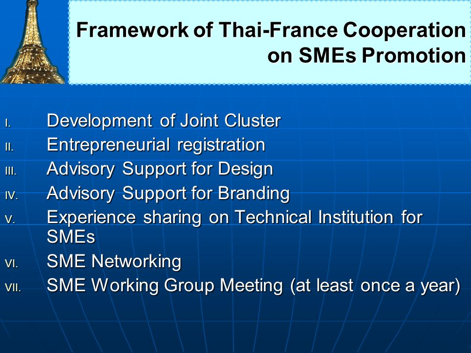 Framework of Thai-France Cooperation on SMEs Promotion
