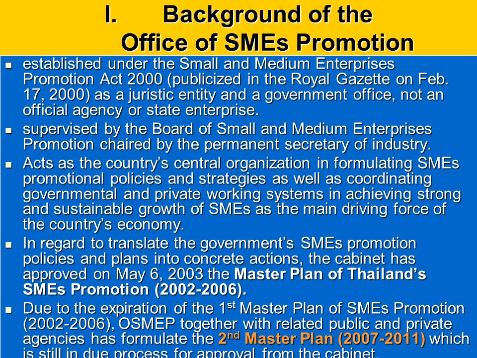 Background of the Office of SMEs Promotion