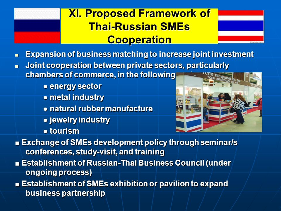 XI. Proposed Framework of Thai-Russian SMEs Cooperation