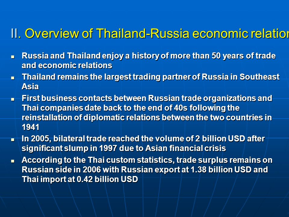 II. Overview of Thailand-Russia economic relation