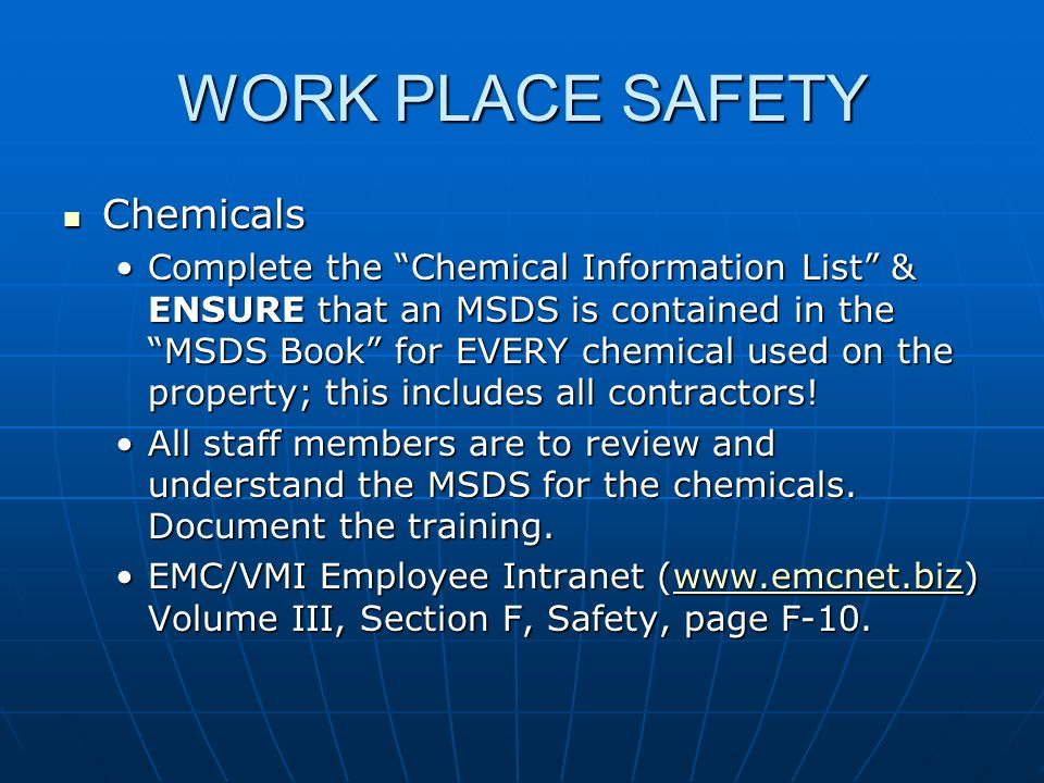 WORK PLACE SAFETY Chemicals