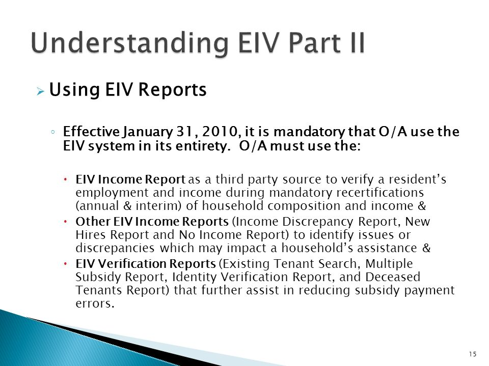 Understanding EIV Part II