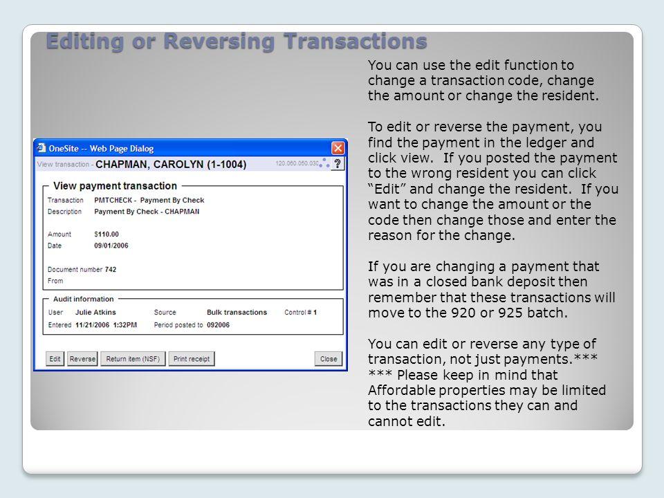 Editing or Reversing Transactions