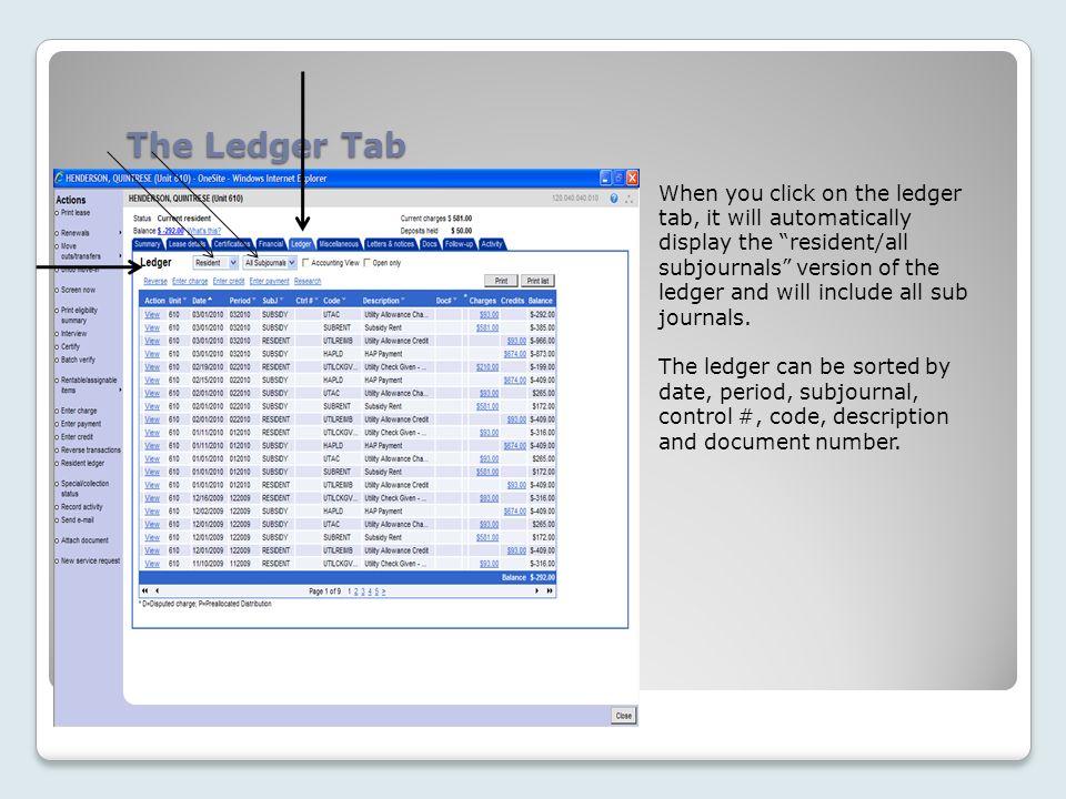 The Ledger Tab