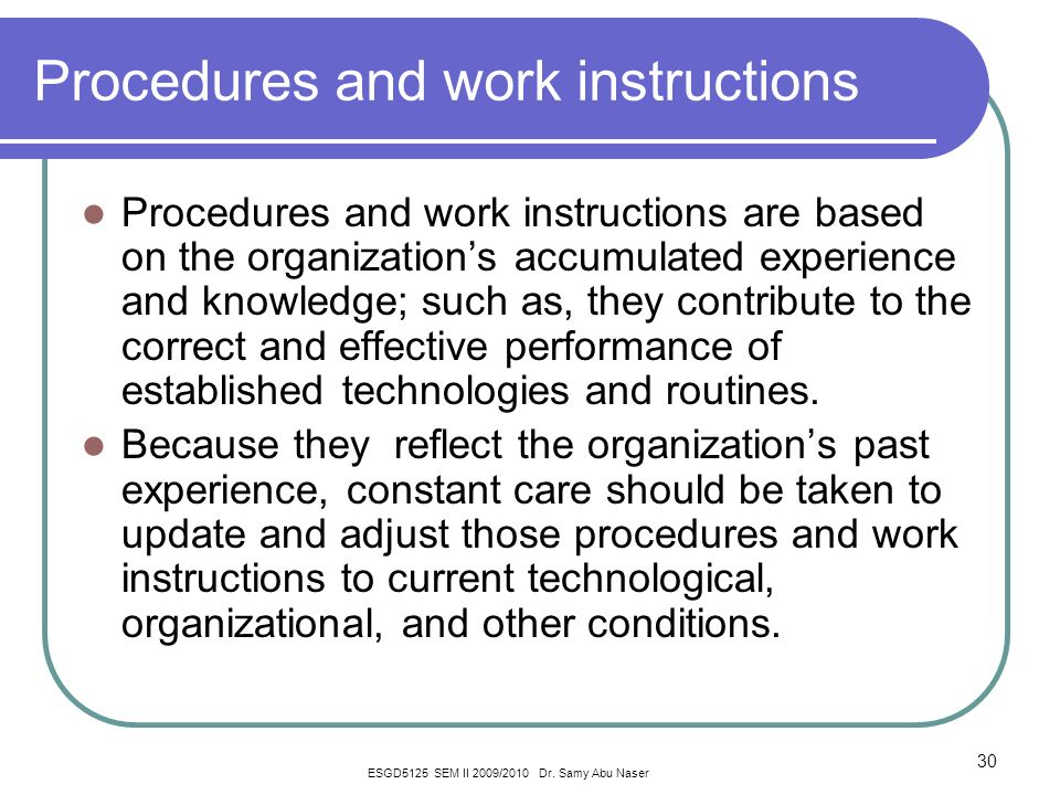 procedures and work instructions