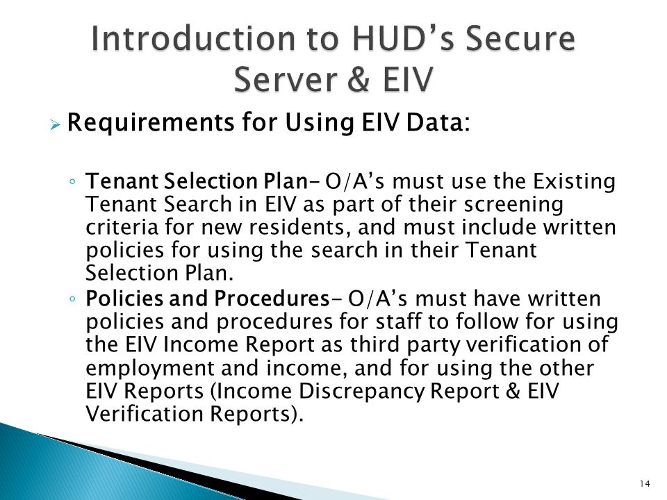Introduction to HUD's Secure Server & EIV