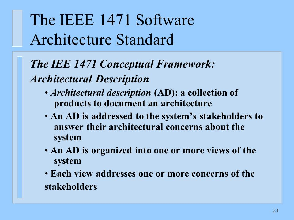 The software development standards ppt video online download the ieee 1471 software architecture standard malvernweather Images