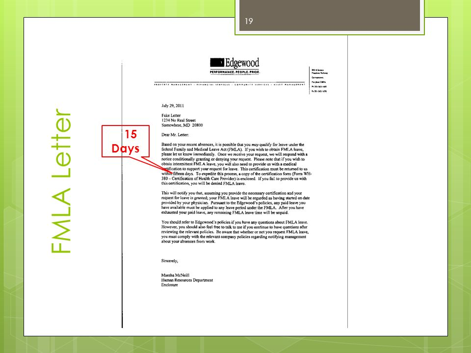 FMLA Letter 15 Days