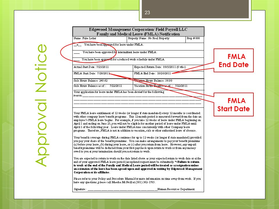 Approval Notice FMLA End Date FMLA Start Date