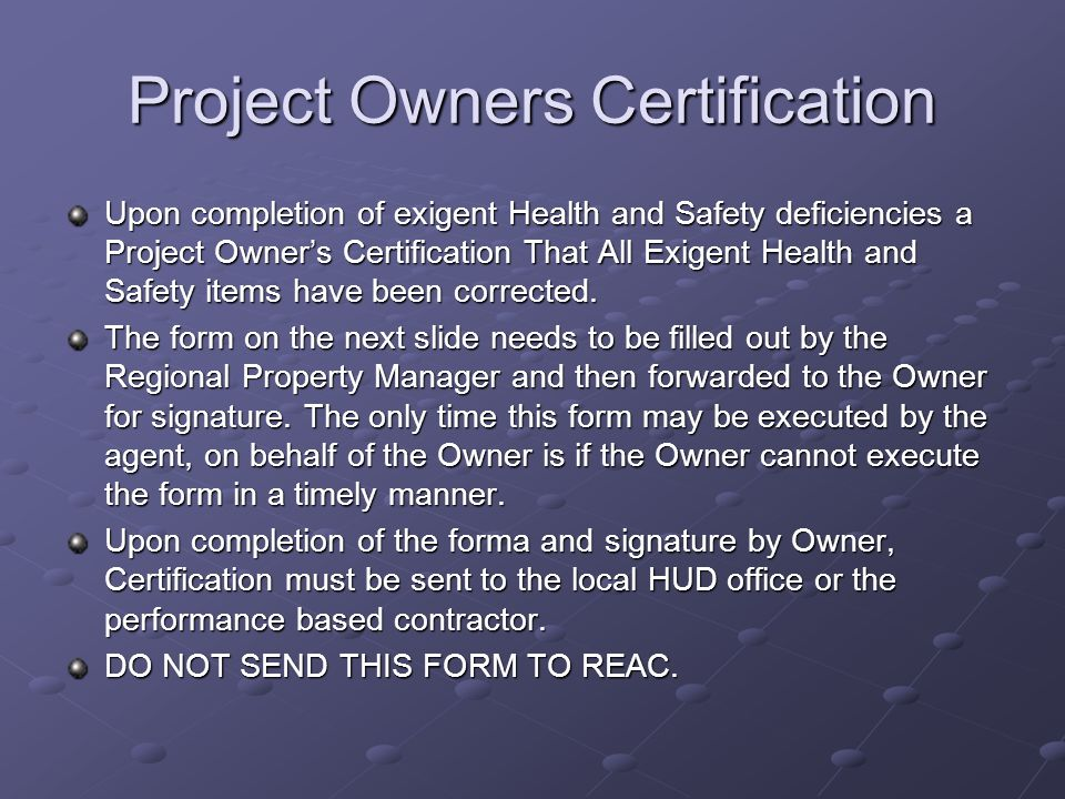 Project Owners Certification