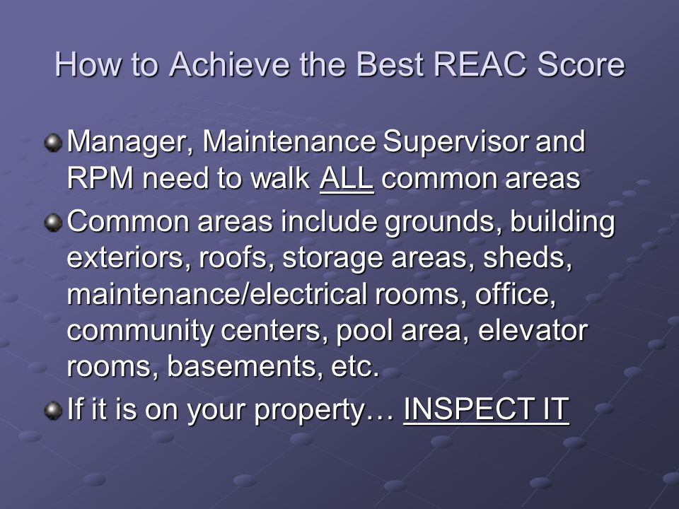 How to Achieve the Best REAC Score