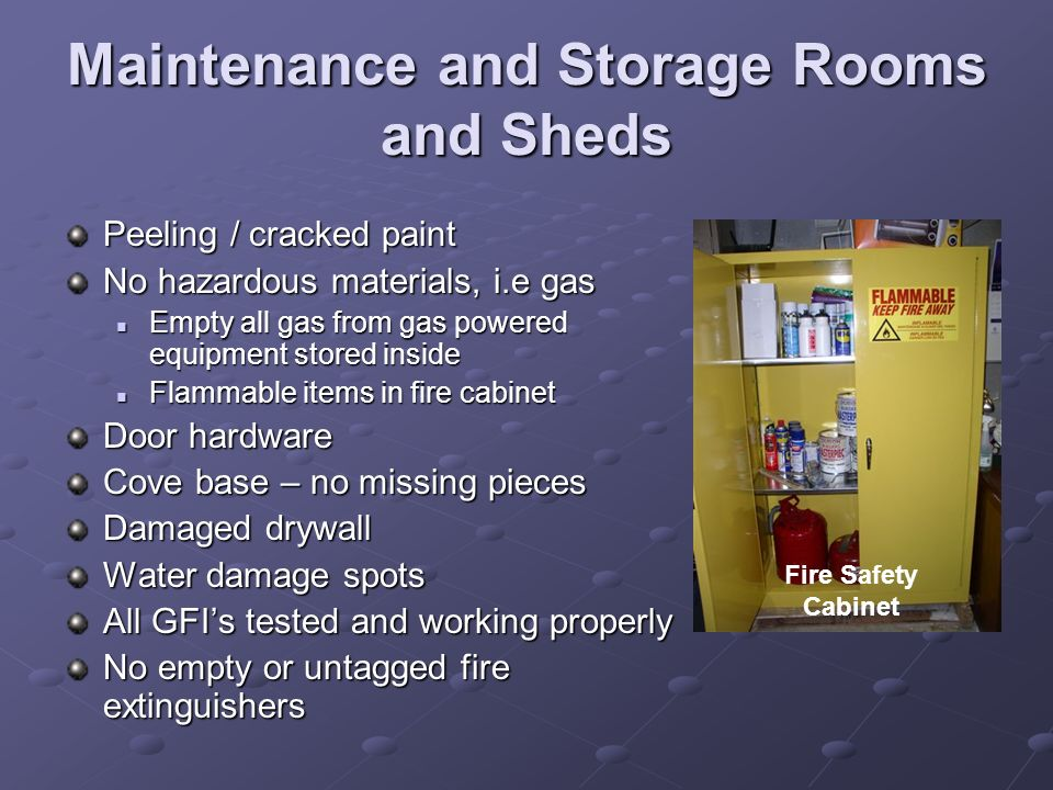 Maintenance and Storage Rooms and Sheds