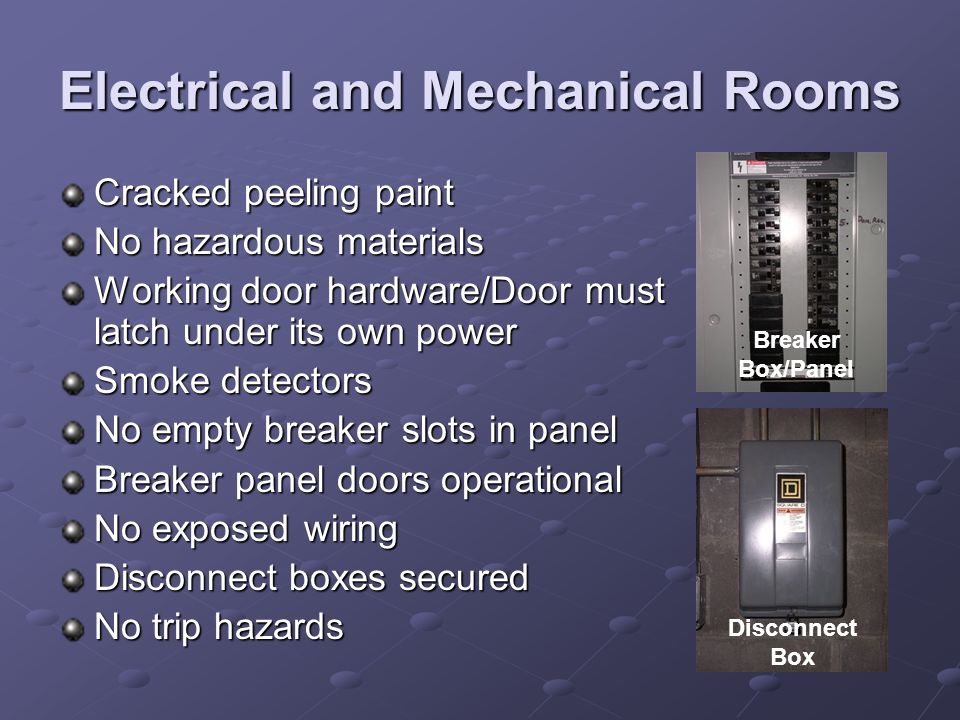 Electrical and Mechanical Rooms