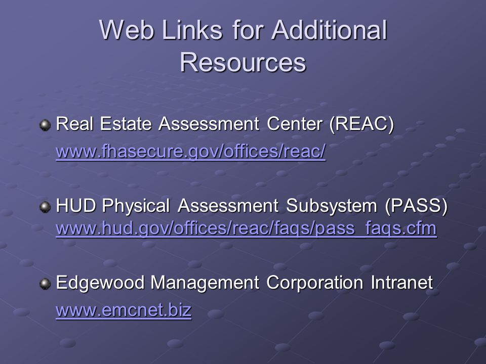 Web Links for Additional Resources