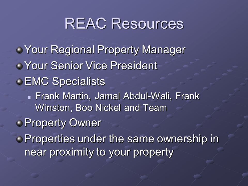 REAC Resources Your Regional Property Manager