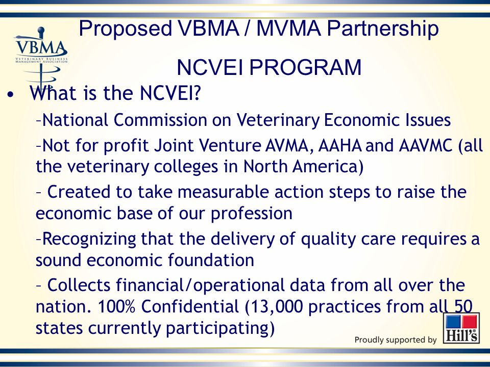 Proposed VBMA / MVMA Partnership NCVEI PROGRAM