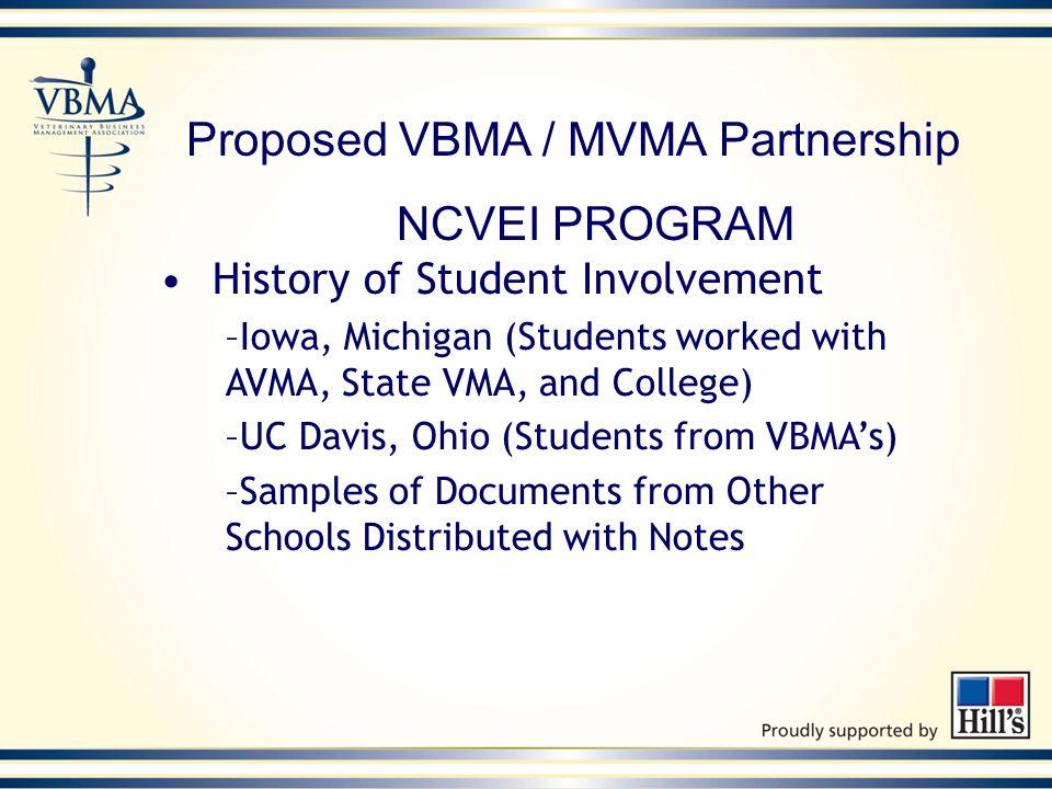 Proposed VBMA / MVMA Partnership NCVEI PROGRAM