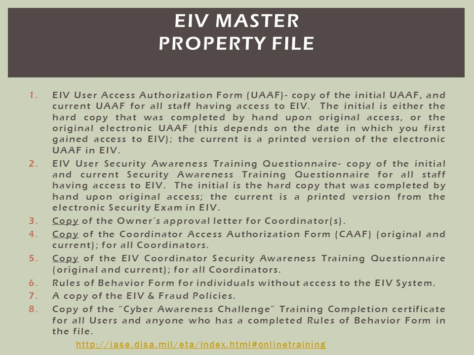 EIV Master property file