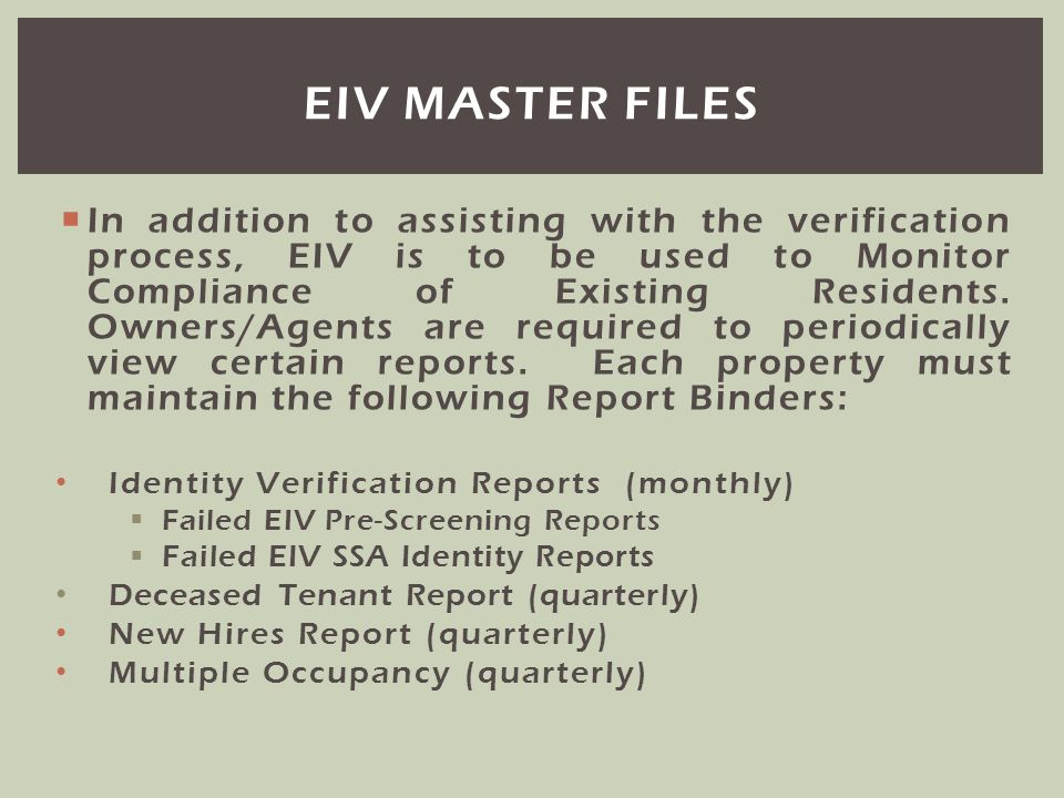 EIV master files