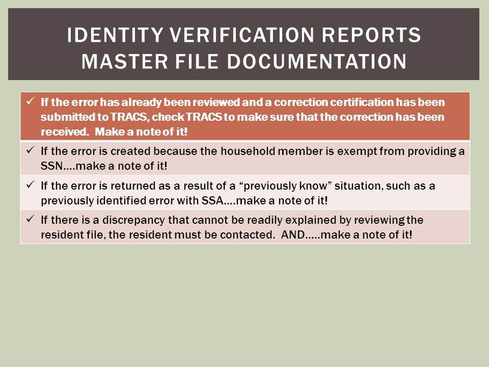 Identity verification reports master file documentation