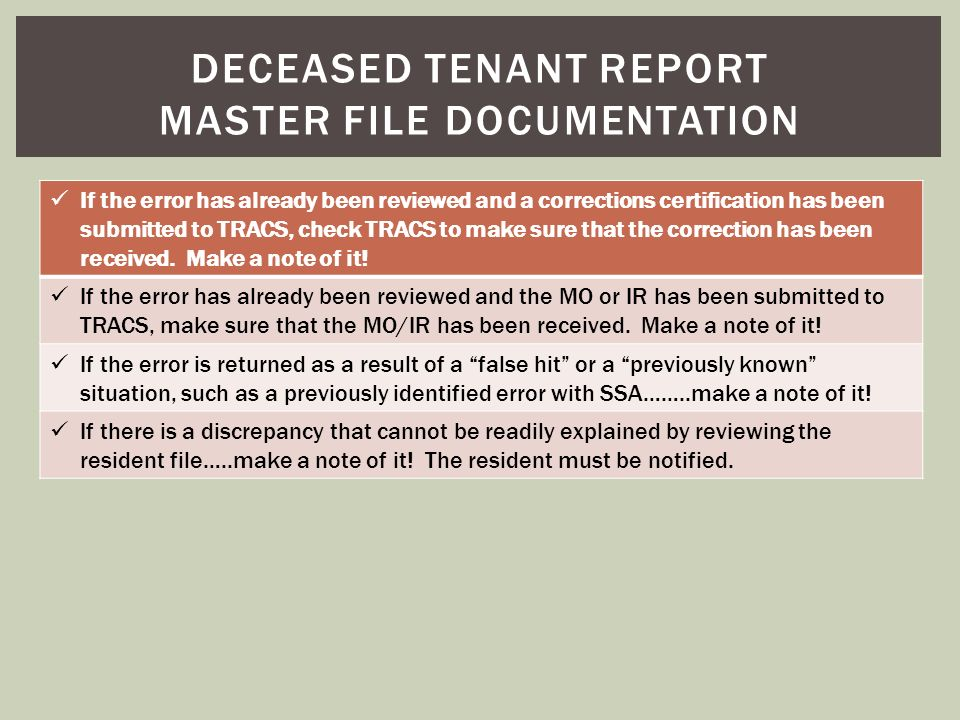 Deceased tenant report master file documentation